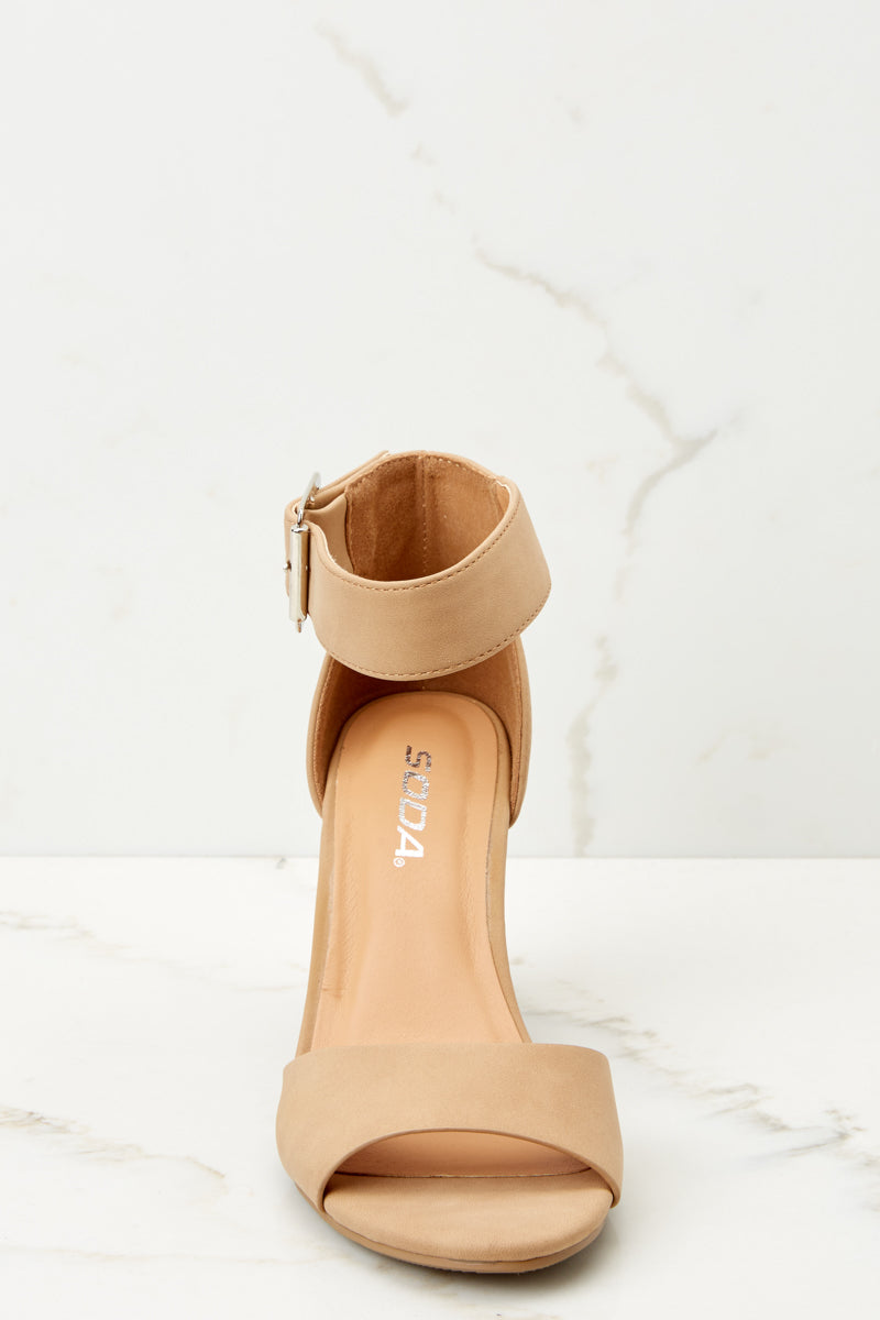 2 Make A Stand Nude Ankle Strap Heels at reddressboutique.com