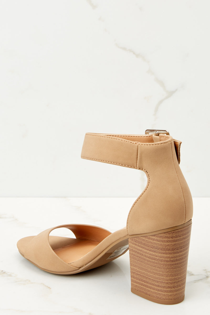 3 Make A Stand Nude Ankle Strap Heels at reddressboutique.com