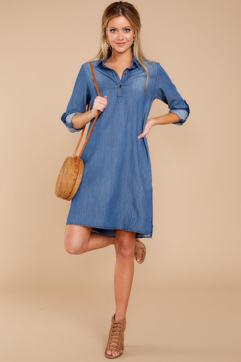080477b02a8 Chic Dark Denim Shirt Dress - Adorable Dress - Dress -  39.00 – Red ...