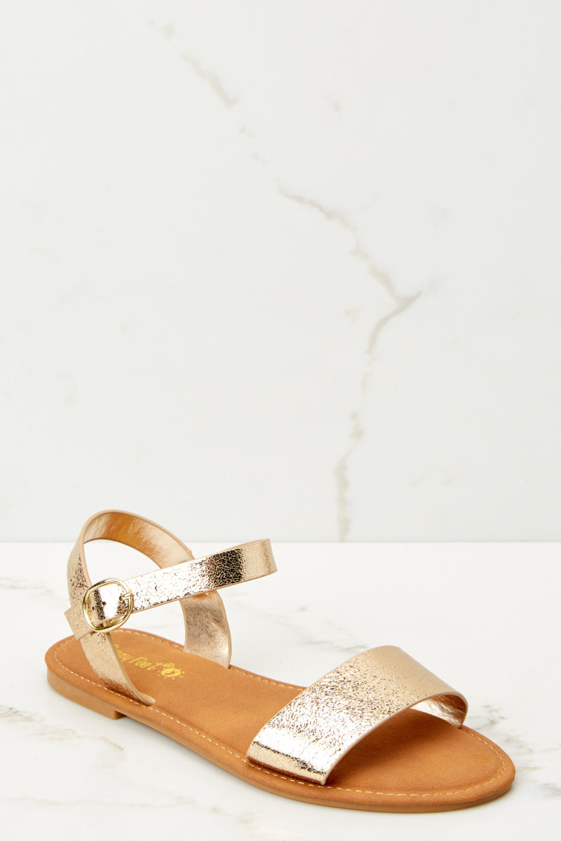 208eeb838 Cute Gold Sandals - Ankle Strap Sandals - Sandals -  20.00 – Red Dress