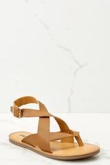 1 No Effort Needed Tan Sandals at reddressboutique.com