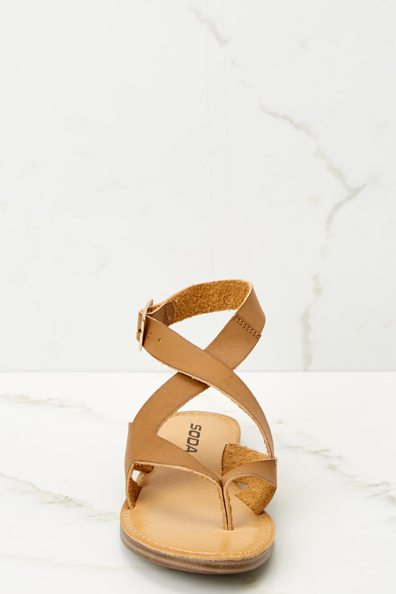 2 No Effort Needed Tan Sandals at reddressboutique.com
