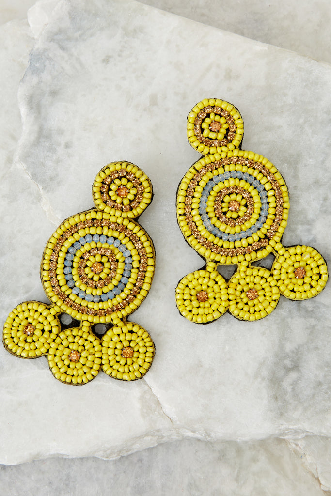 1 Request More Time Goldenrod Yellow Tassel Earrings at reddressboutique.com