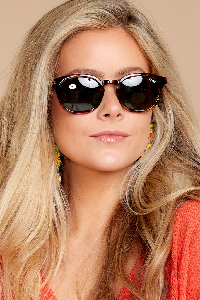 4 Quay Australia Rumours Tortoise Green Sunglasses at reddressboutique.com