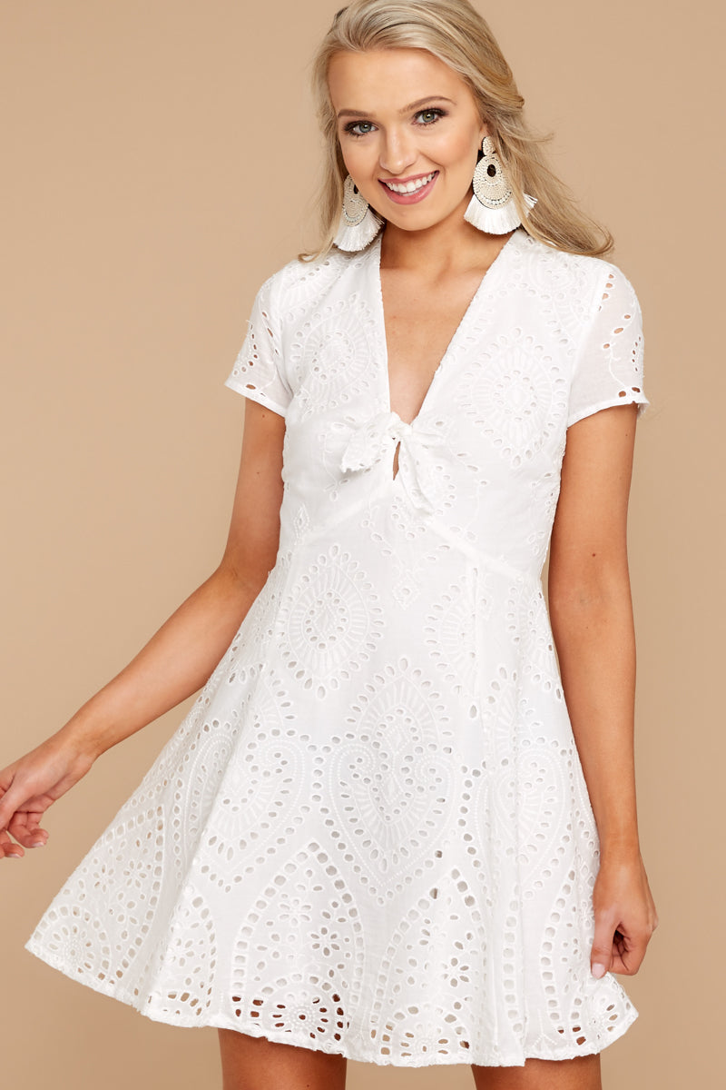 fc8a8ee92fe Adorable White Eyelet Dress - Chic Lace Dress - Dress -  20.00 – Red ...