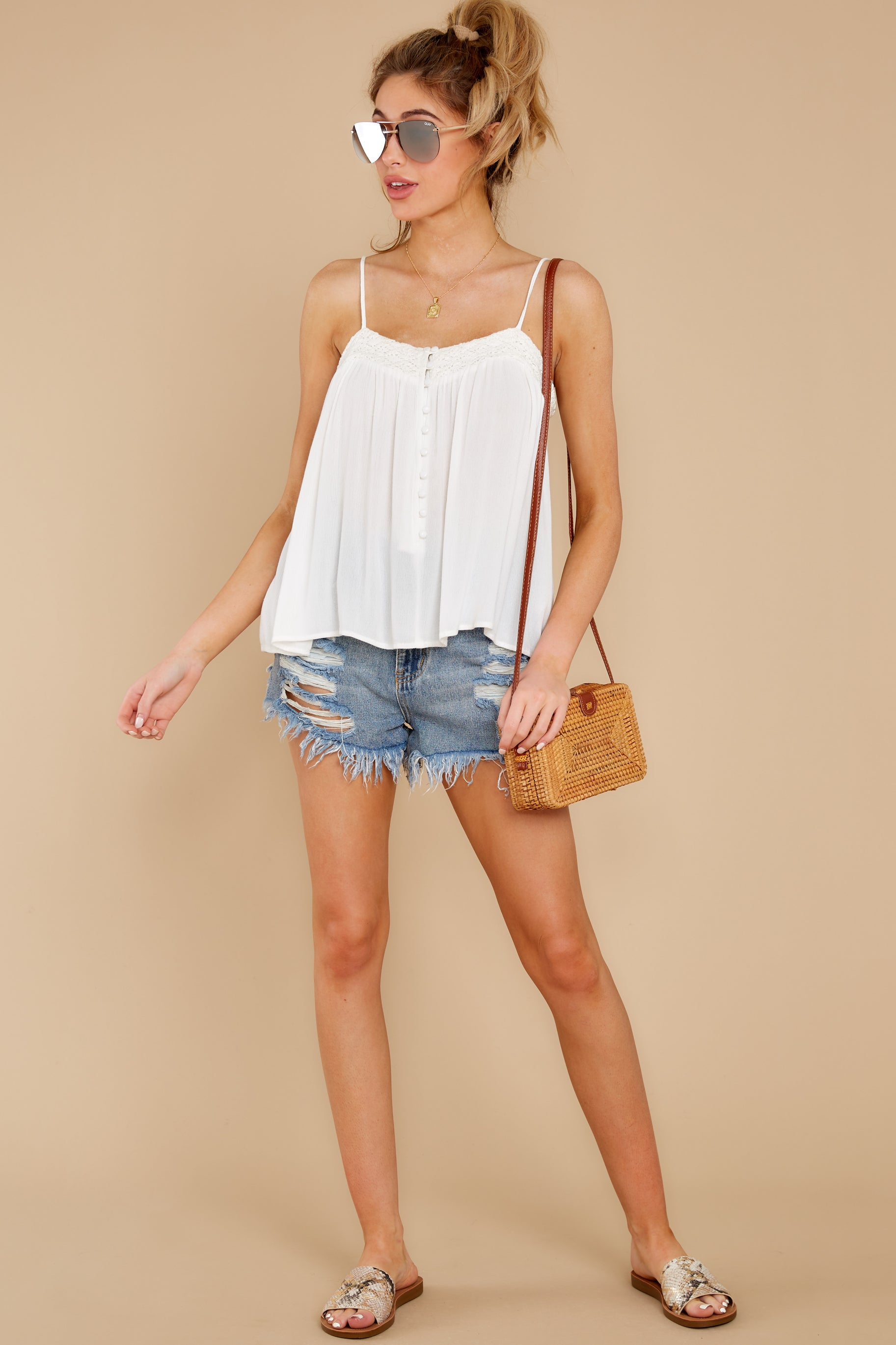 4 Without Us White Crochet Tank Top at reddress.com