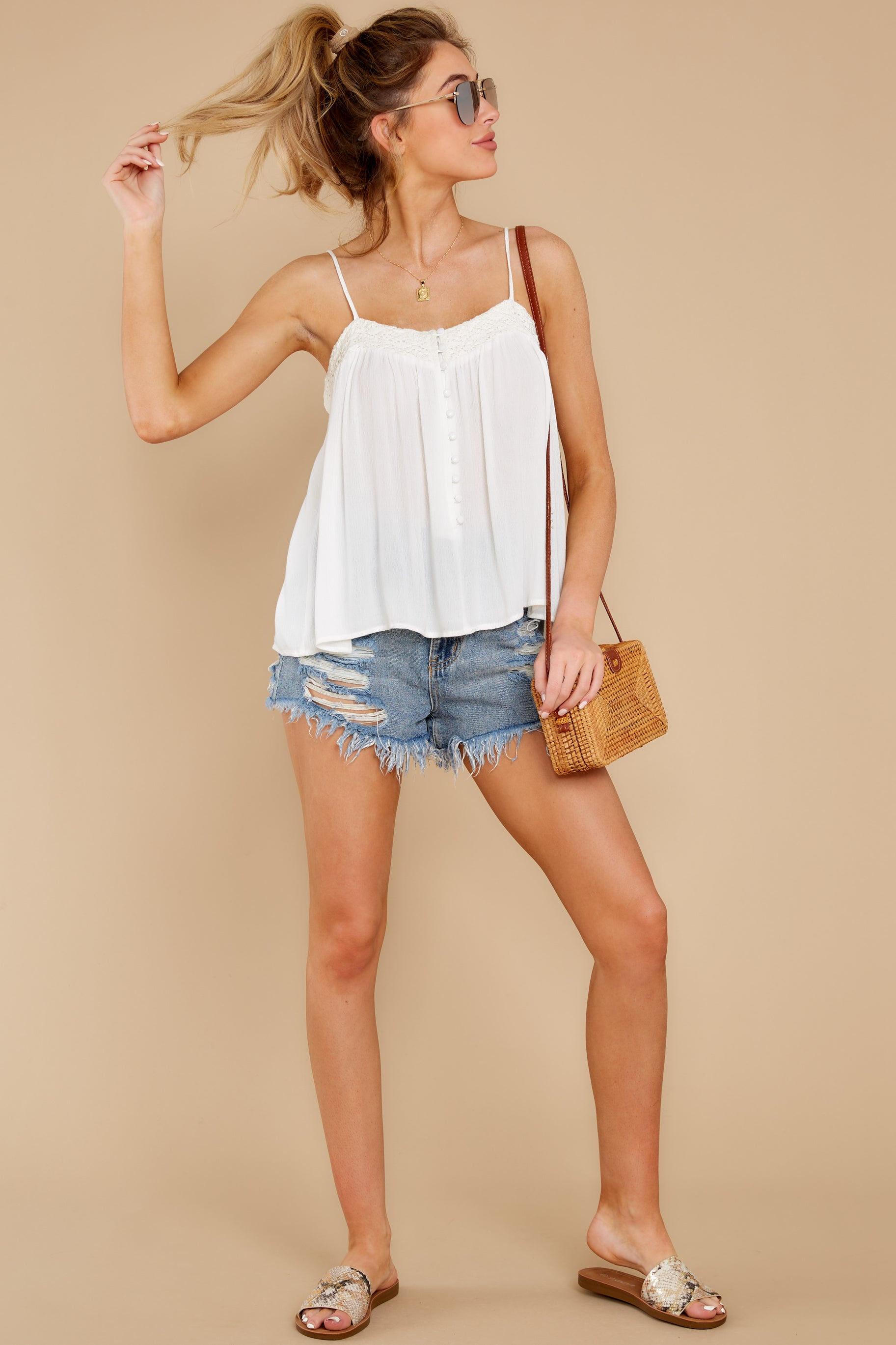 3 Without Us White Crochet Tank Top at reddress.com