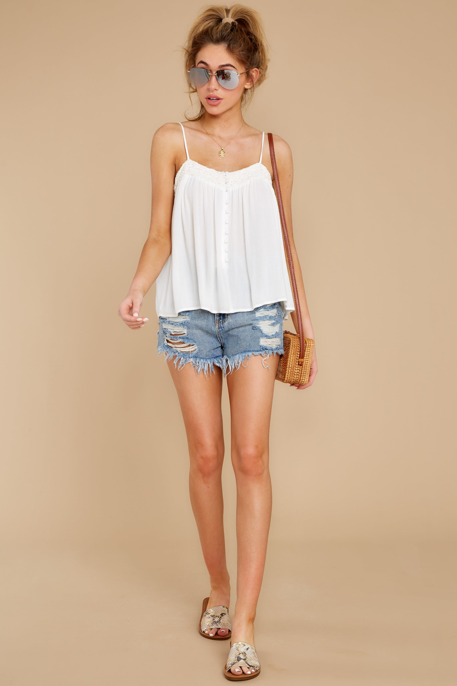 2 Without Us White Crochet Tank Top at reddress.com