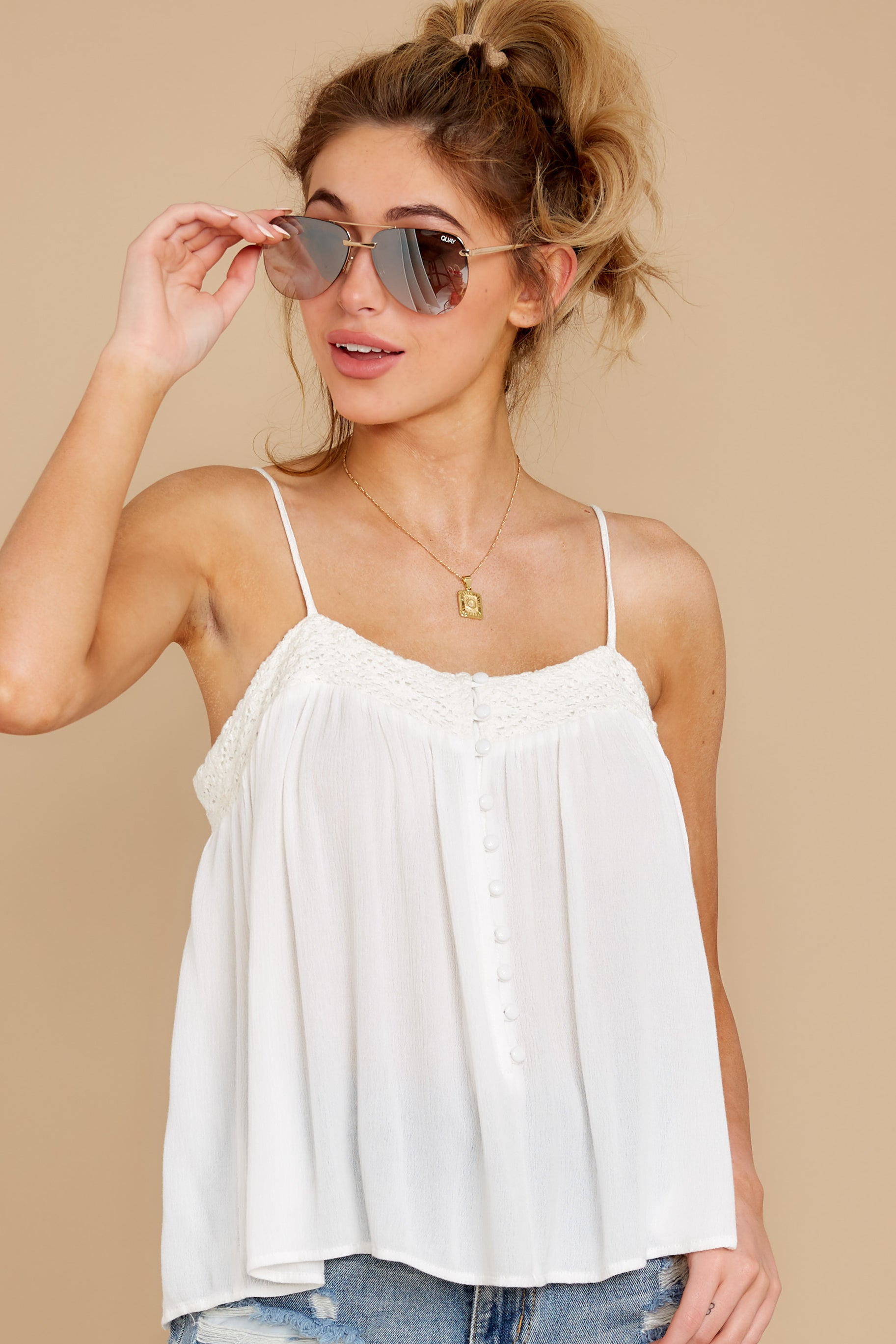 1 Without Us White Crochet Tank Top at reddress.com