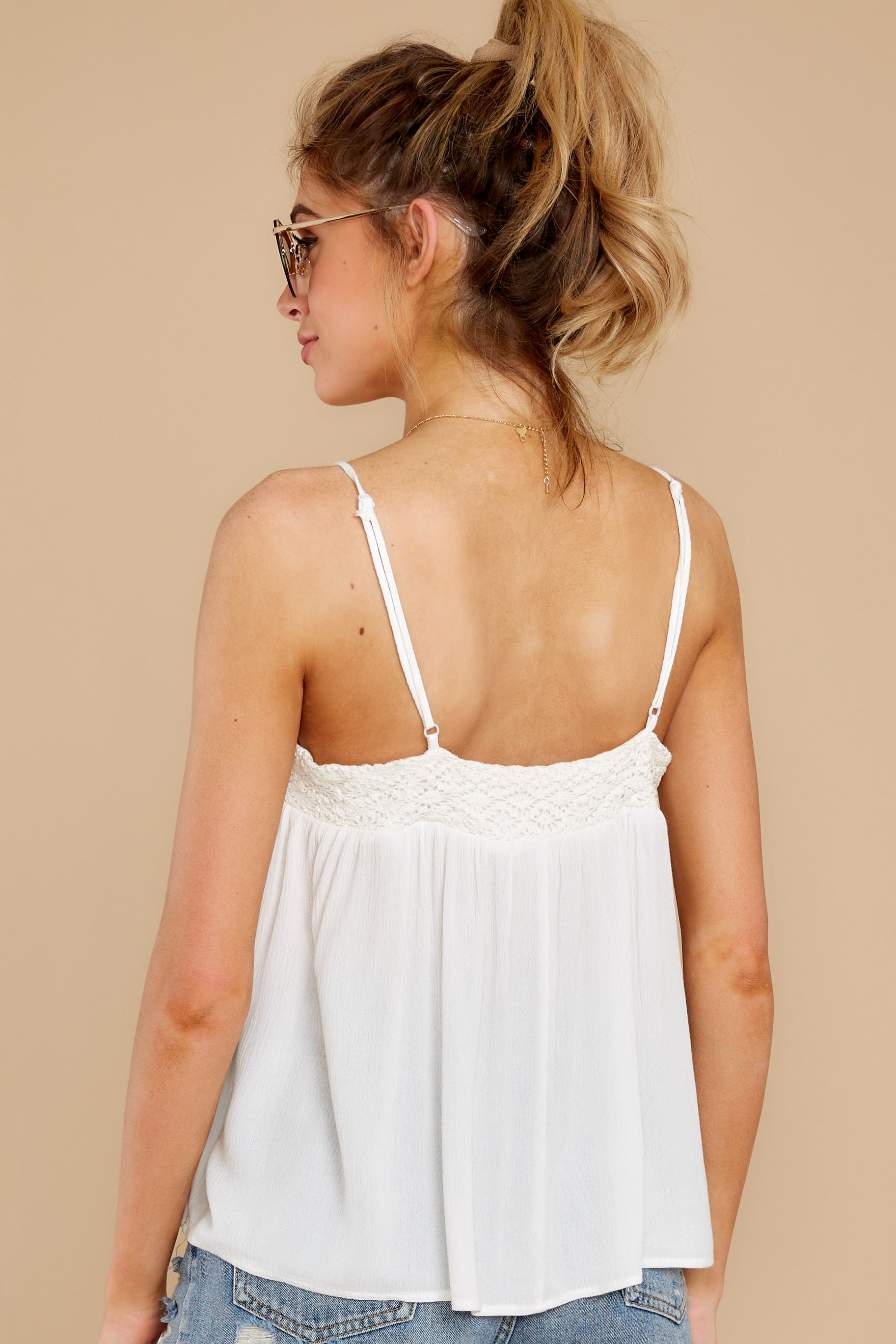 8 Without Us White Crochet Tank Top at reddress.com