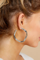 1 Square Elisa Silver Burnished Hoops at reddress.com