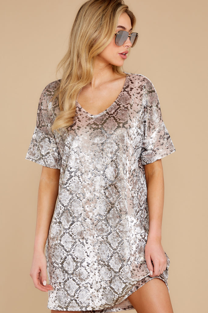 1 She's A Sly One Tan Snake Print High-Low Dress at reddress.com