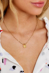 1 Lock Initial C Gold Necklace at reddress.com