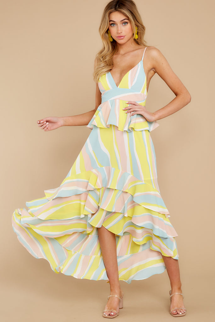 6 Topic Of Gossip Yellow Multi Dress at reddressboutique.com