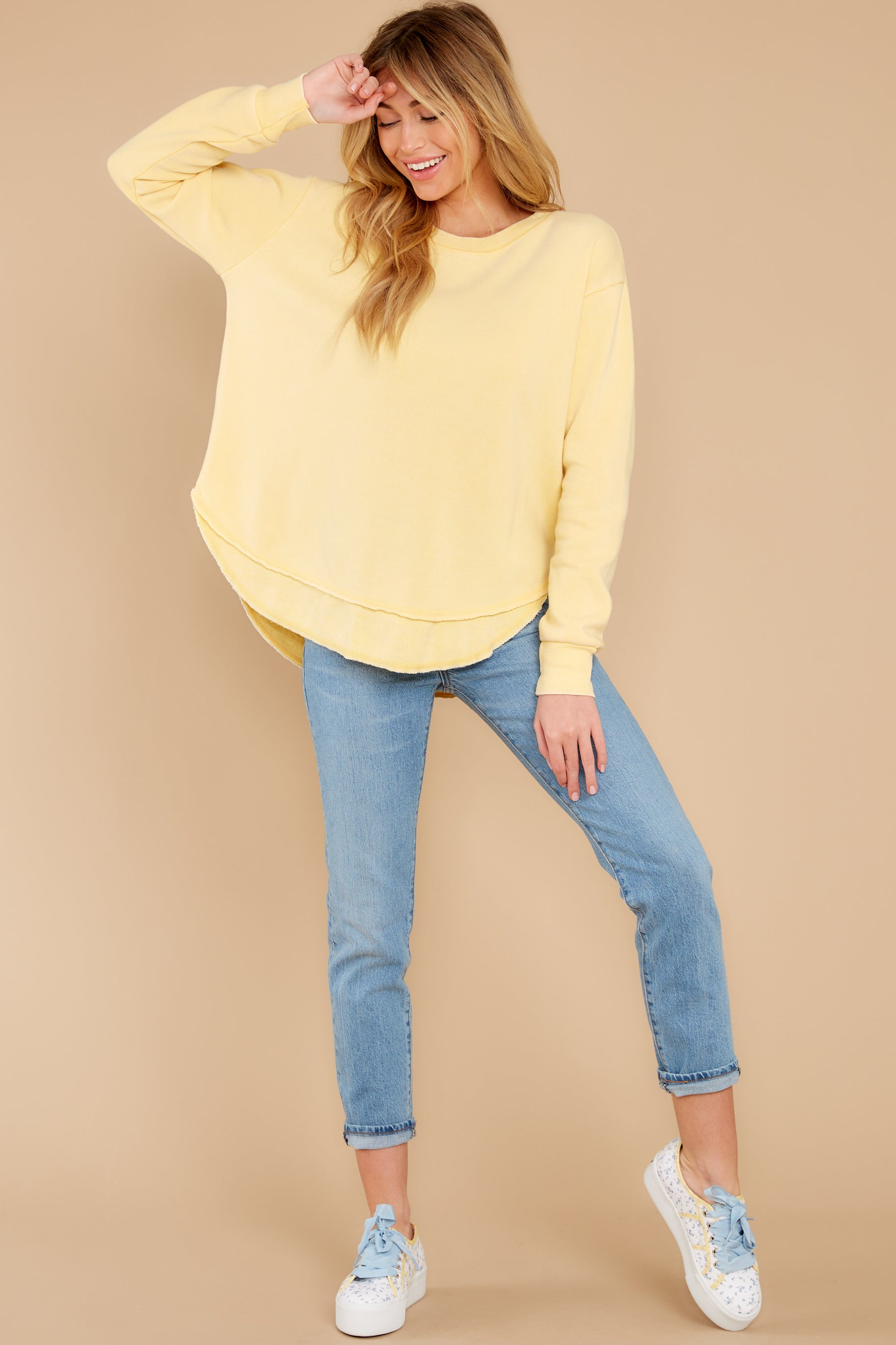 4 Divine Comfort Sunflower Yellow Pullover at reddress.com