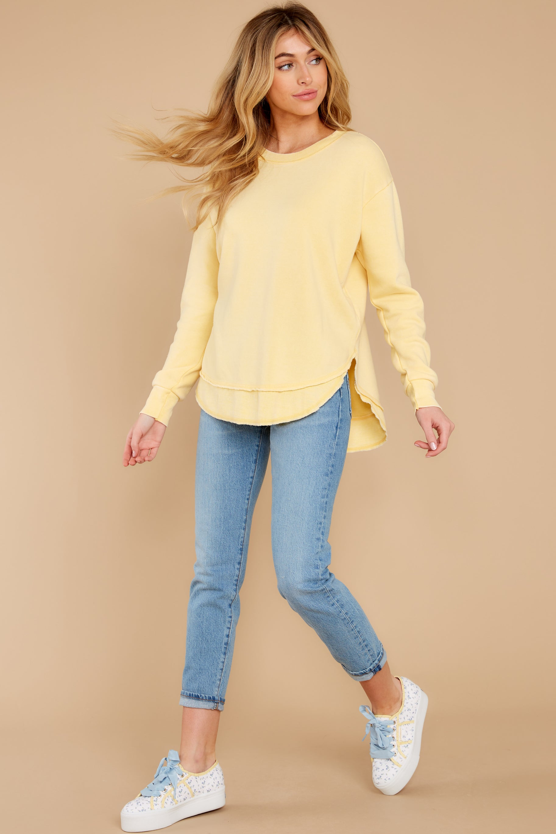 5 Divine Comfort Sunflower Yellow Pullover at reddress.com