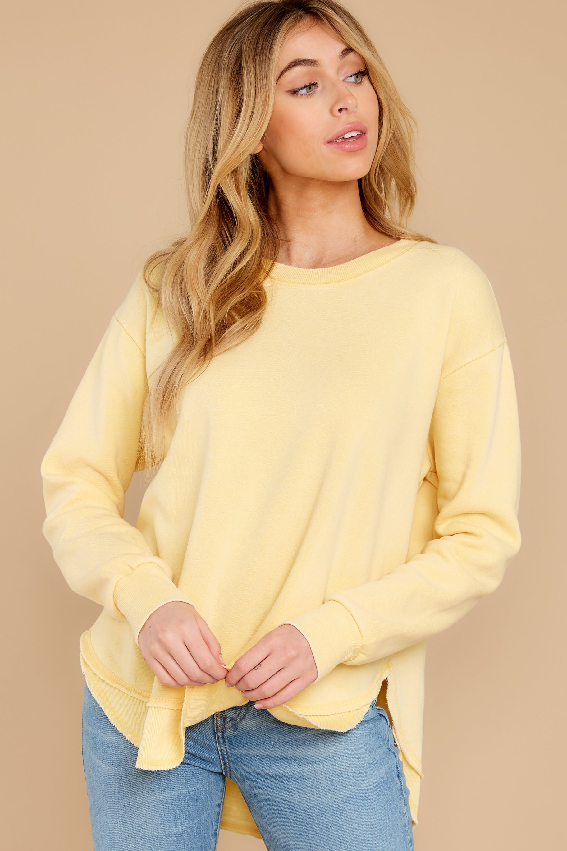 10 Divine Comfort Sunflower Yellow Pullover at reddress.com