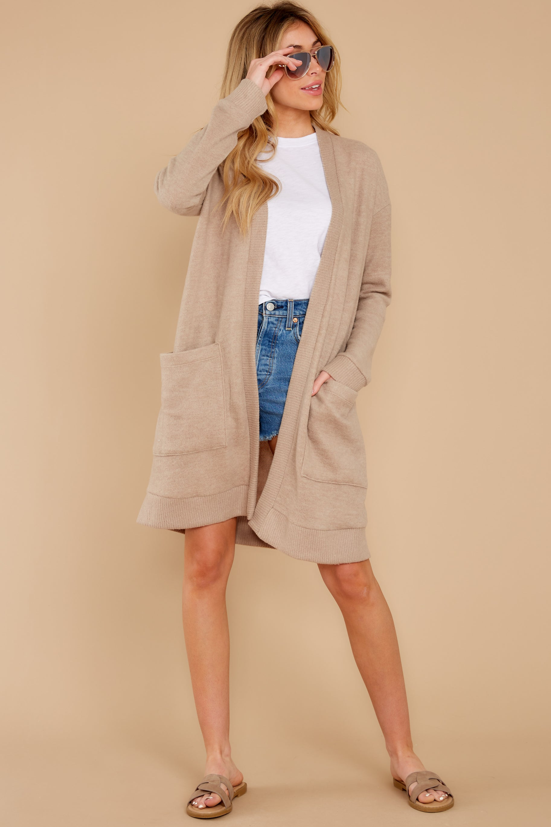 4 All I Really Want Taupe Cardigan at reddress.com