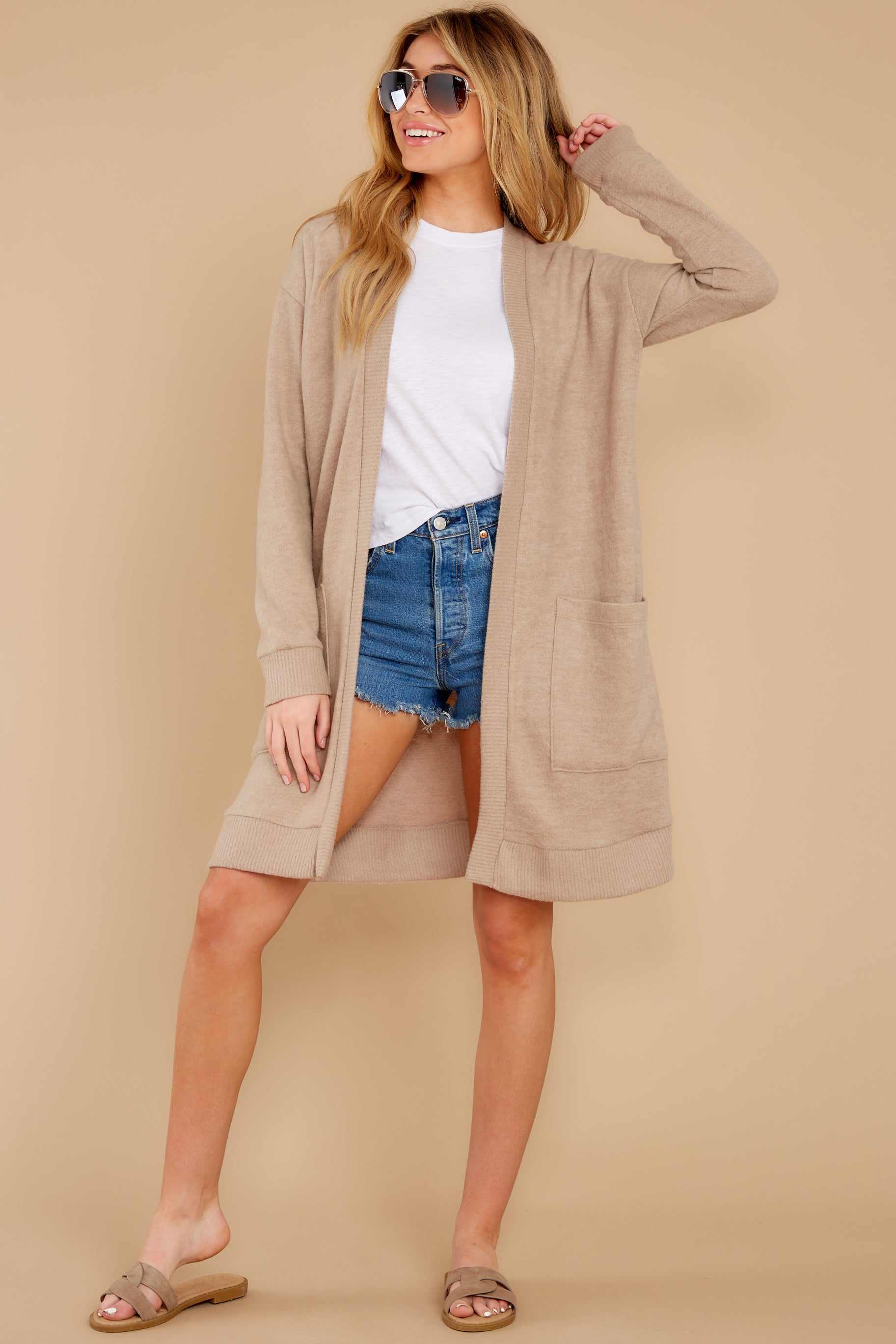 6 All I Really Want Taupe Cardigan at reddress.com