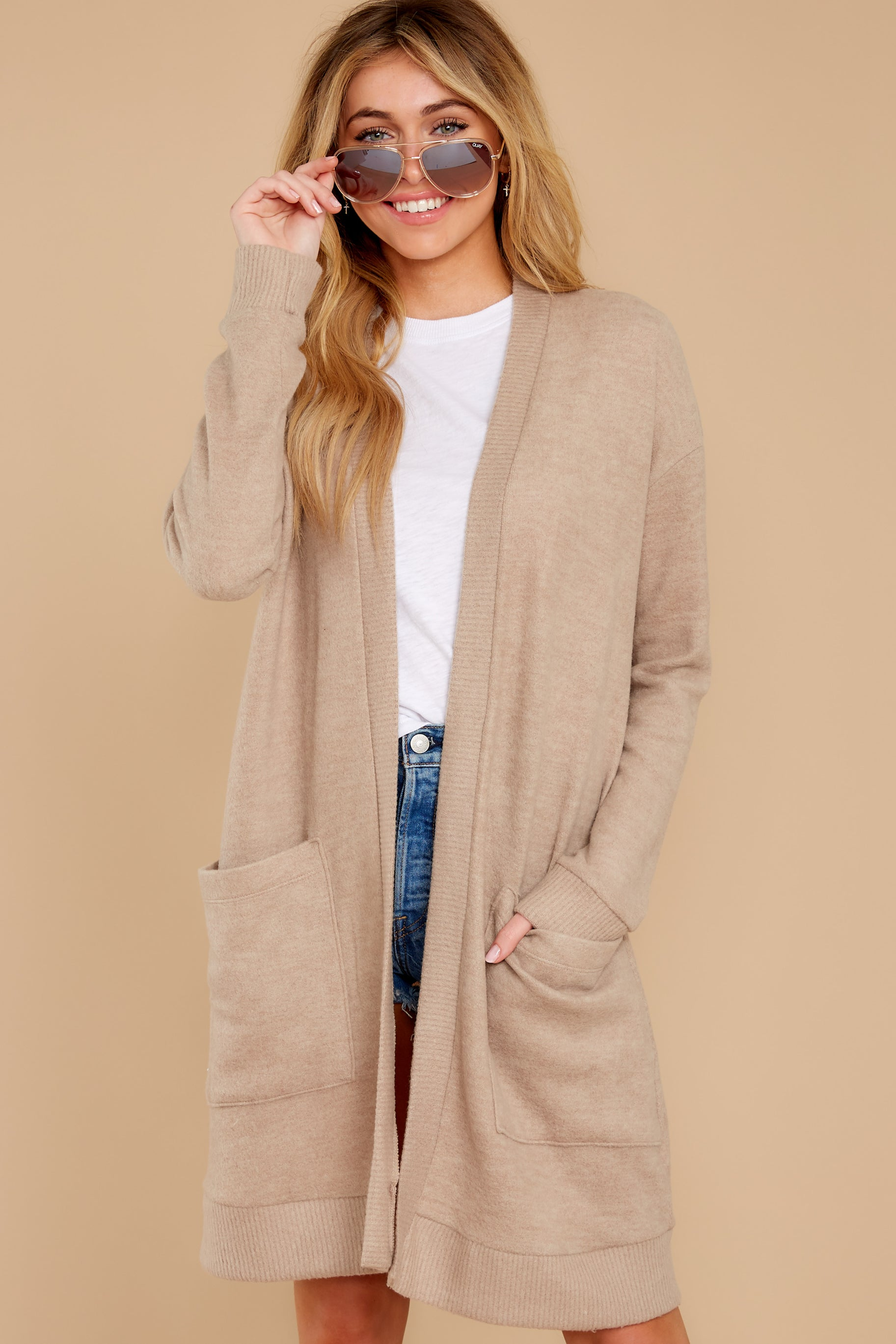 7 All I Really Want Taupe Cardigan at reddress.com