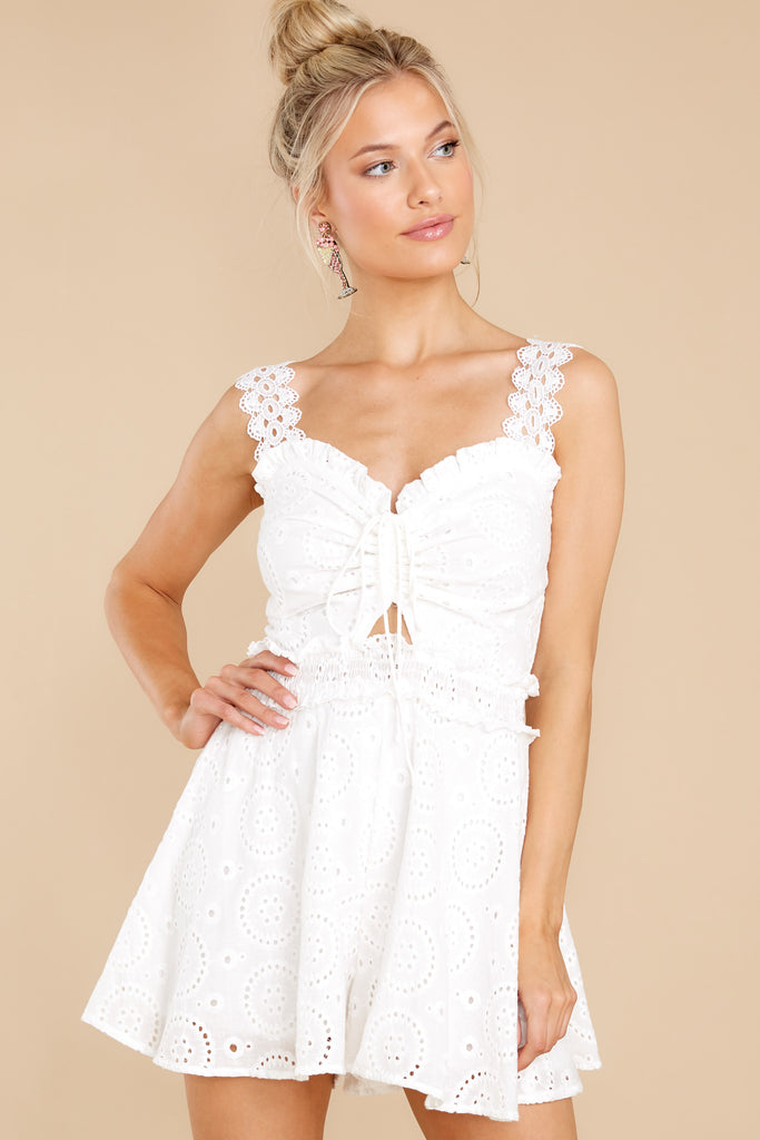 1 The Ways Of Love White Eyelet Romper at reddress.com