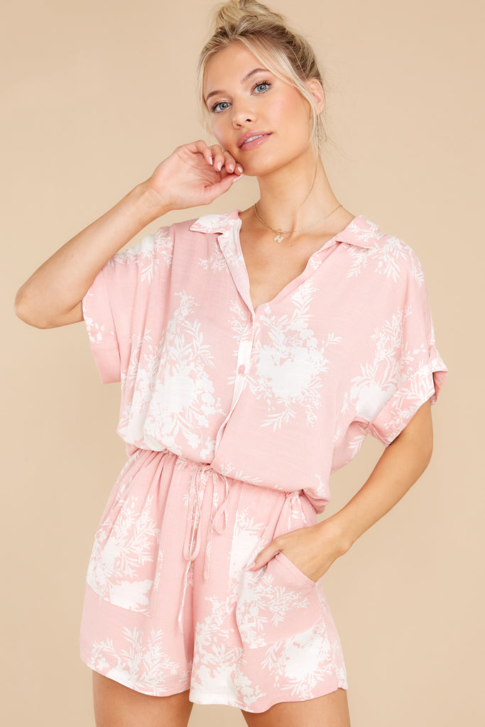 1 Sweet Connection Light Pink Print Romper at reddress.com