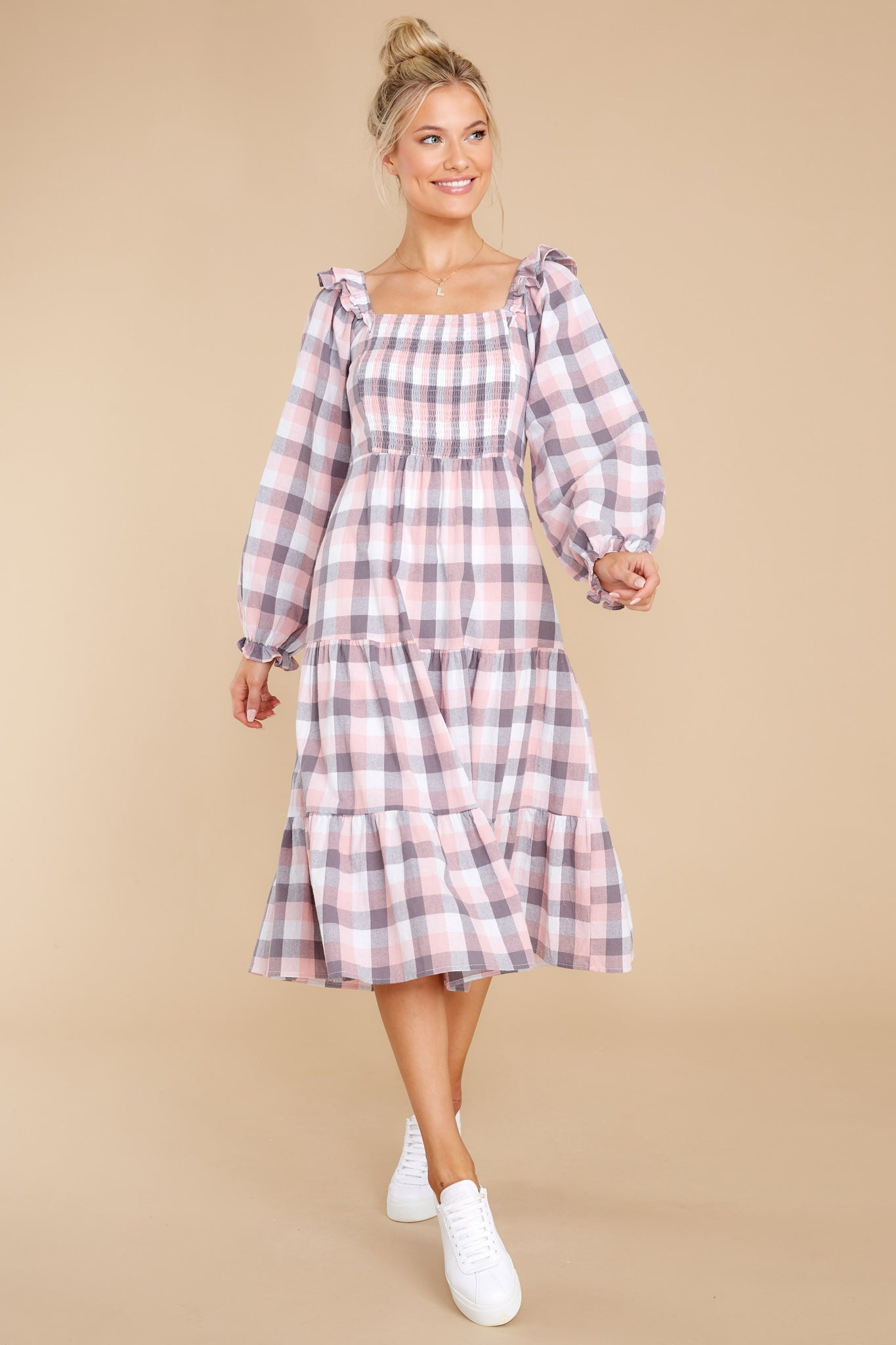 Cottagecore Clothing, Soft Aesthetic Midday Stroll Pink Plaid Midi Dress $60.00 AT vintagedancer.com