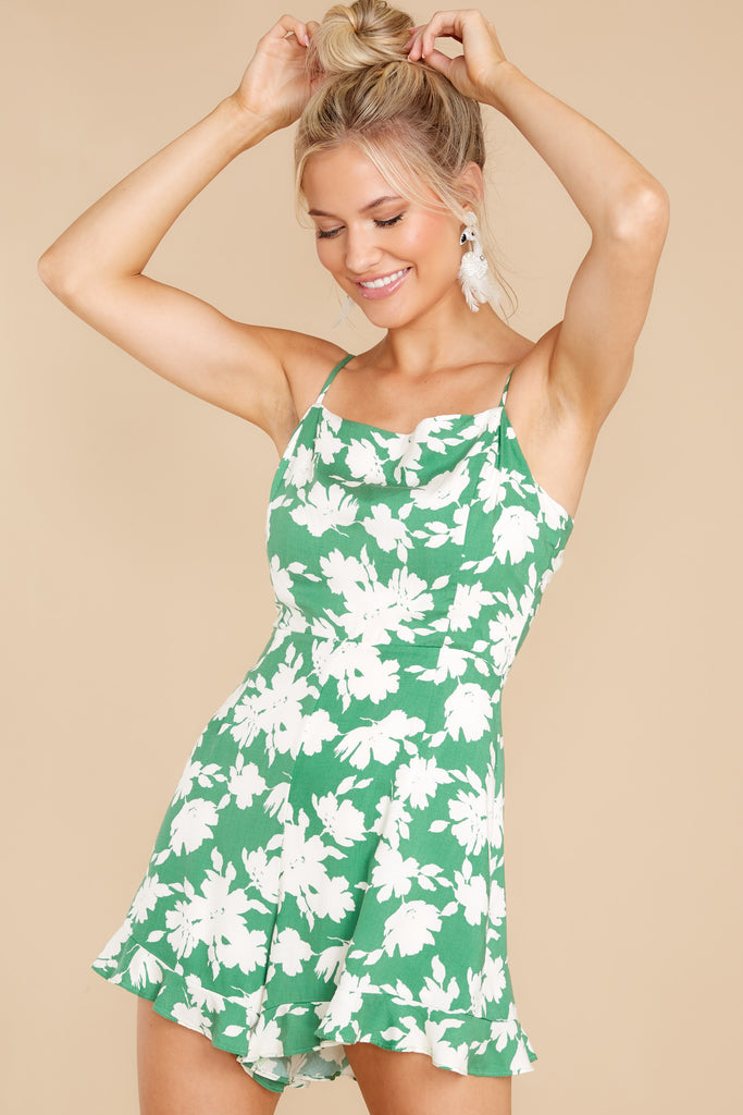 1 One Way Ticket Green Print Romper at reddress.com