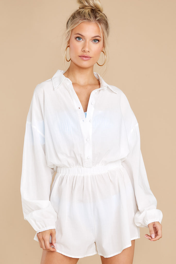 1 Sunday At The Shore White Cover Up Romper at Red Dress