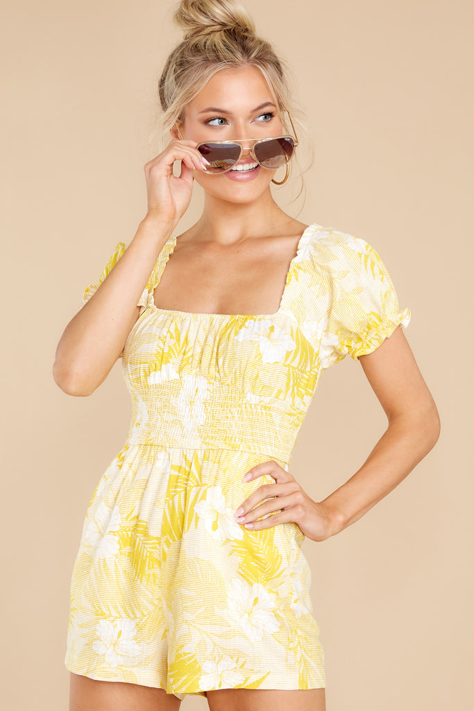 1 Offshore Beauty Yellow Tropical Print Romper at reddress.com