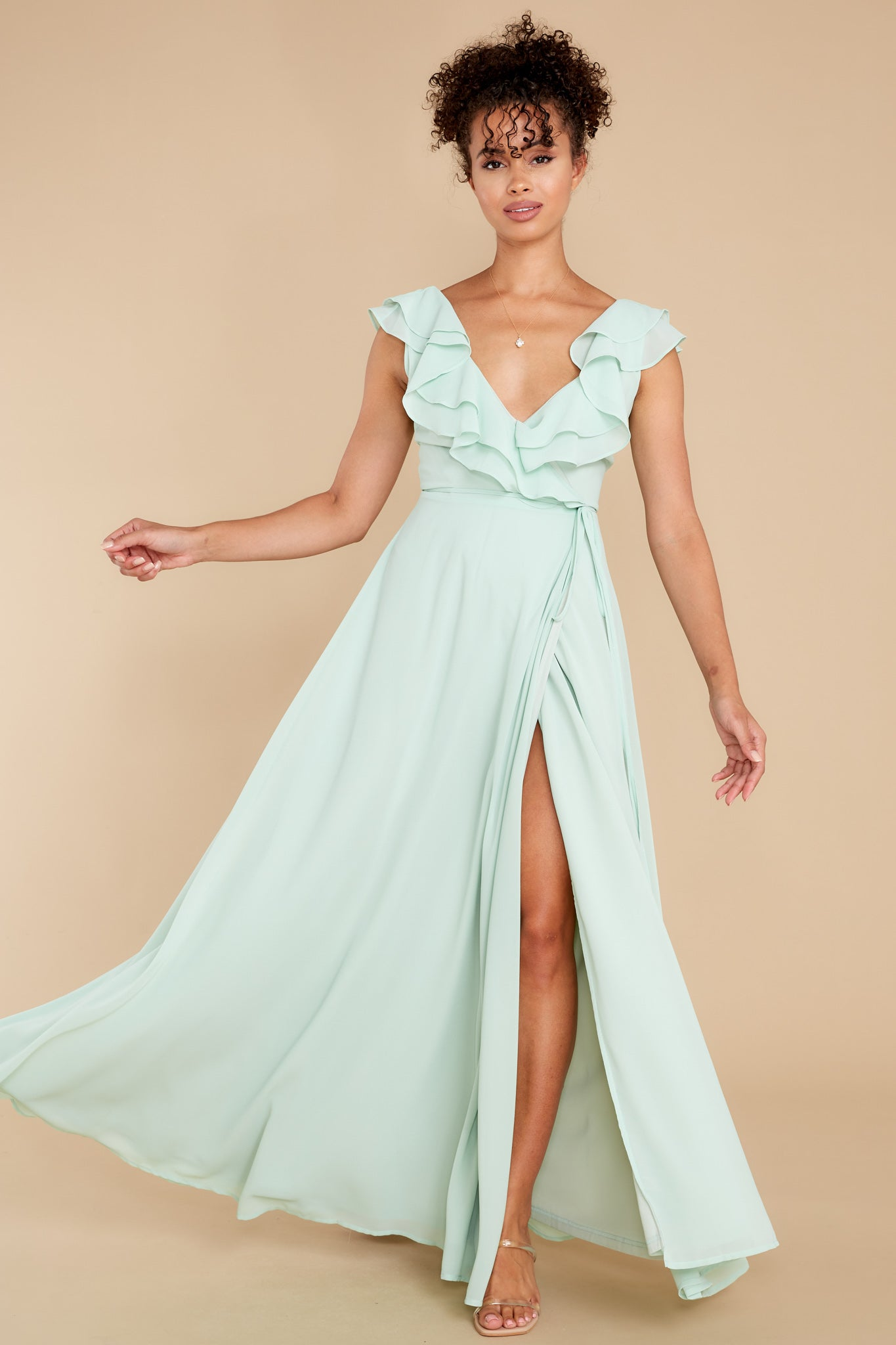 70s Prom, Formal, Evening, Party Dresses Aura Moments Like This Mint Maxi Dress $56.00 AT vintagedancer.com