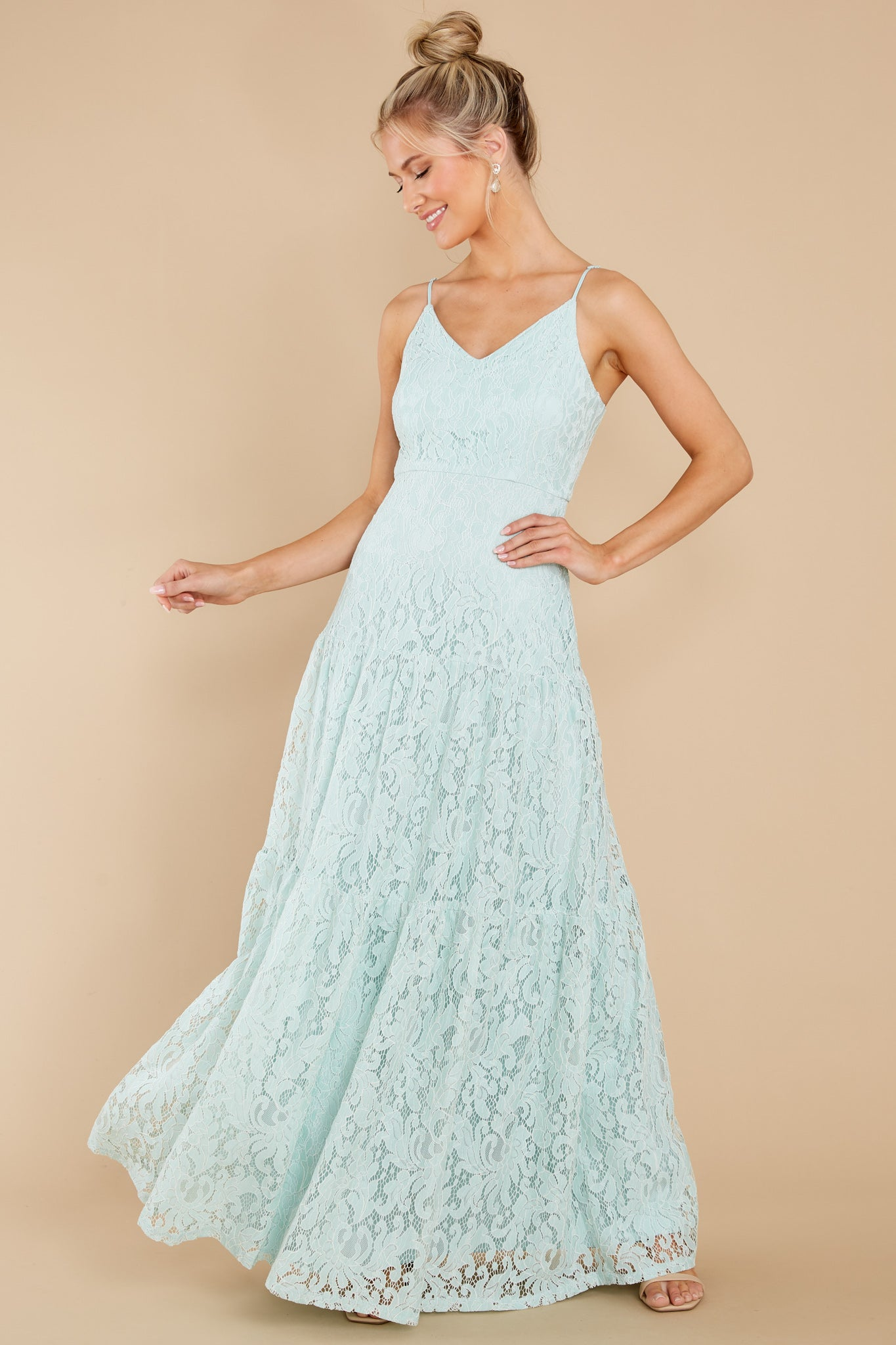 1 Elegantly Poised Pale Mint Lace Maxi Dress at reddress.com