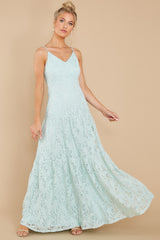 6 Elegantly Poised Pale Mint Lace Maxi Dress at reddress.com