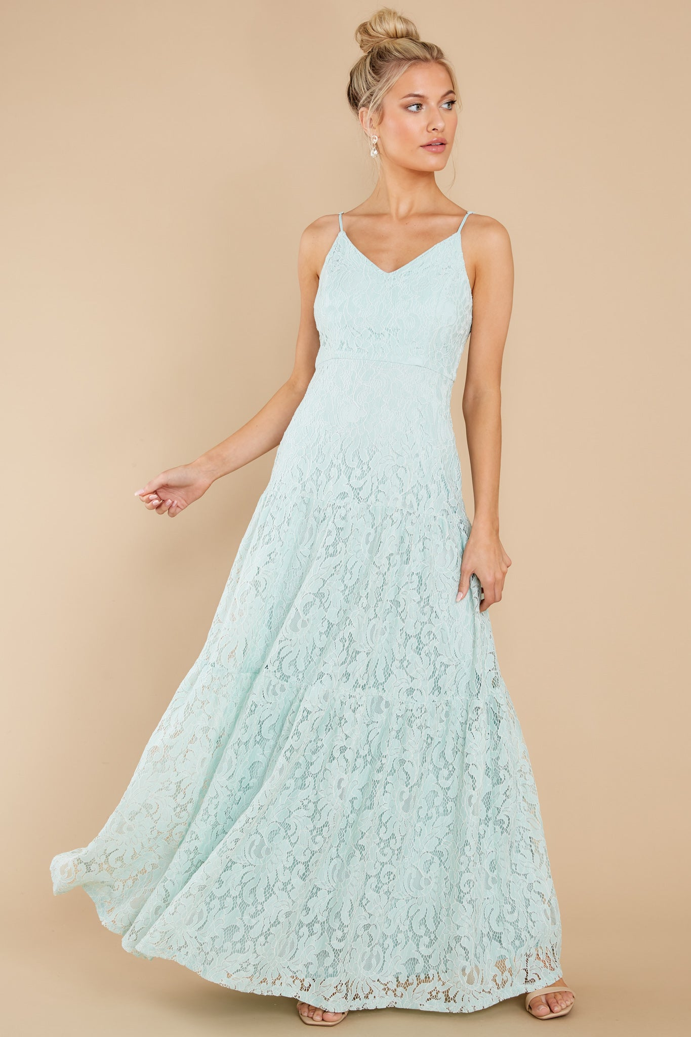 7 Elegantly Poised Pale Mint Lace Maxi Dress at reddress.com