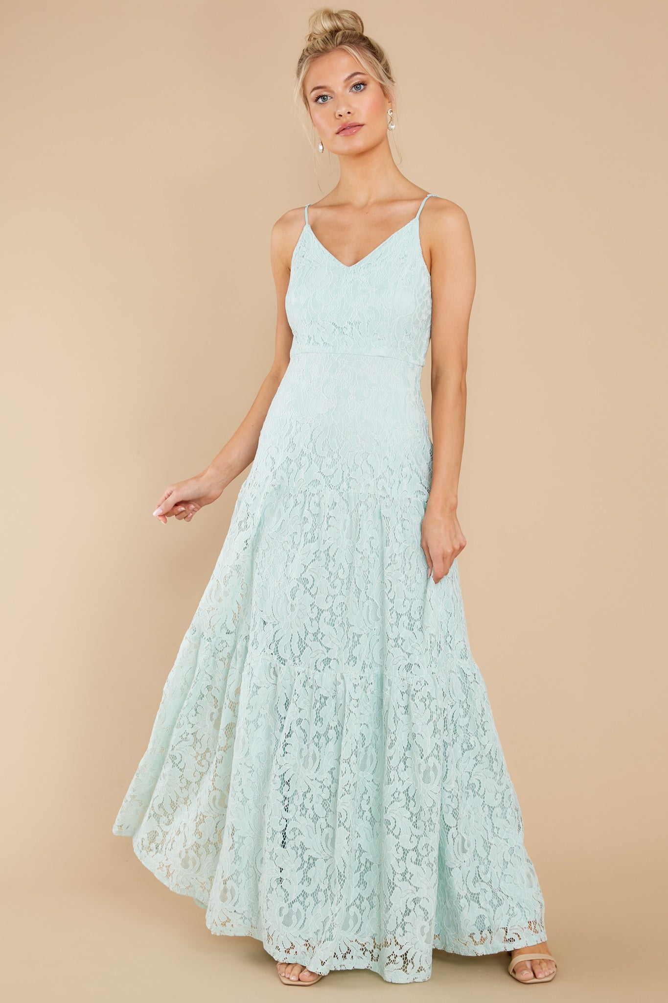 4 Elegantly Poised Pale Mint Lace Maxi Dress at reddress.com