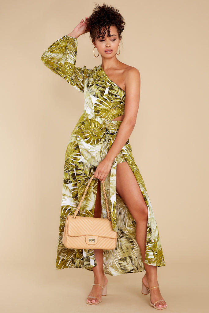 1 Tropical Getaway Green Leaf Print Romper at reddress.com