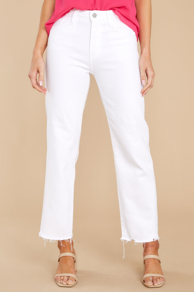 Getting My Way White Distressed Straight Jeans 1 at reddress.com