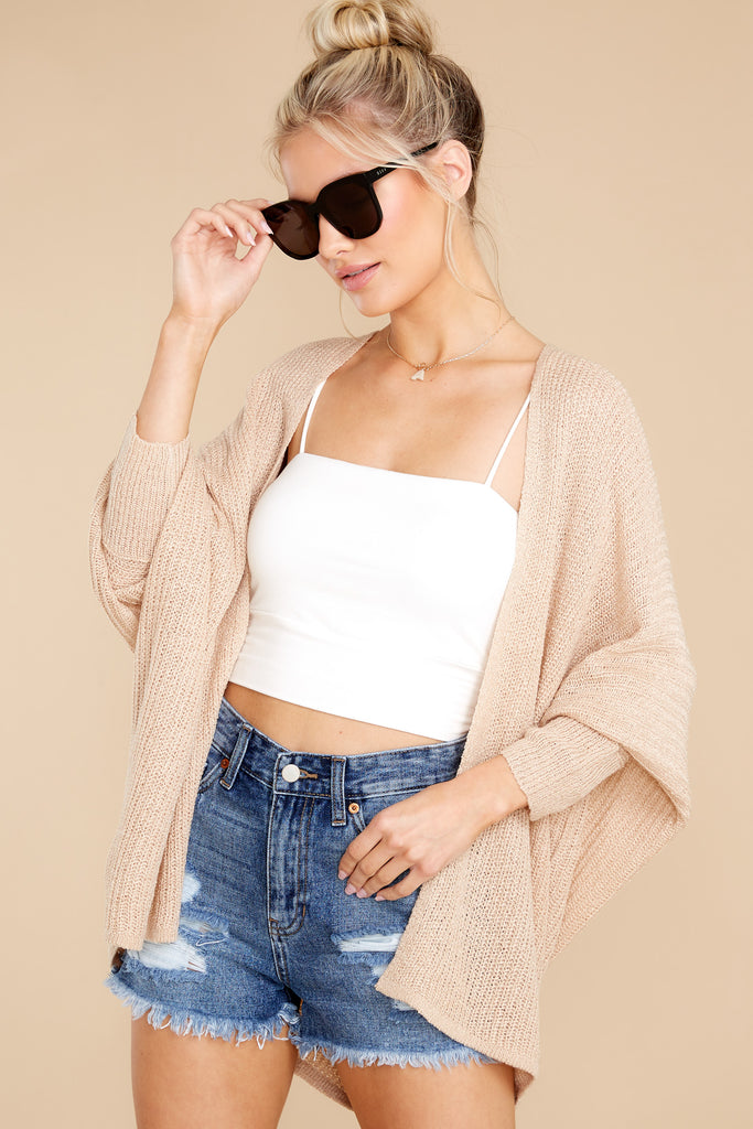 1 Chill Evenings Beige Cardigan at reddress.com
