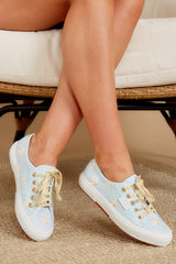 2750 Fan Cot Blue and Yellow Floral Print Sneakers