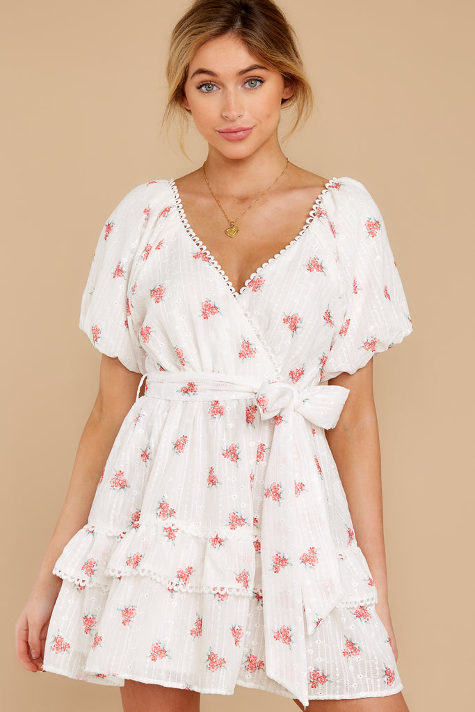 1 In My Dreams Ivory Floral Print Midi Dress at reddress.com