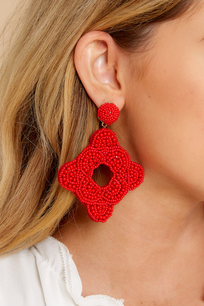 1 Whenever Wherever Red Multicolored Beaded Earrings at reddress.com