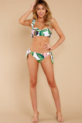 2 Tiki Leaves White Print Bikini Top at reddress.com