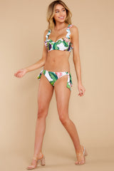 3 Tiki Leaves White Print Bikini Top at reddress.com