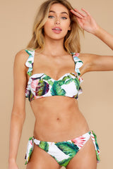 8 Tiki Leaves White Print Bikini Top at reddress.com