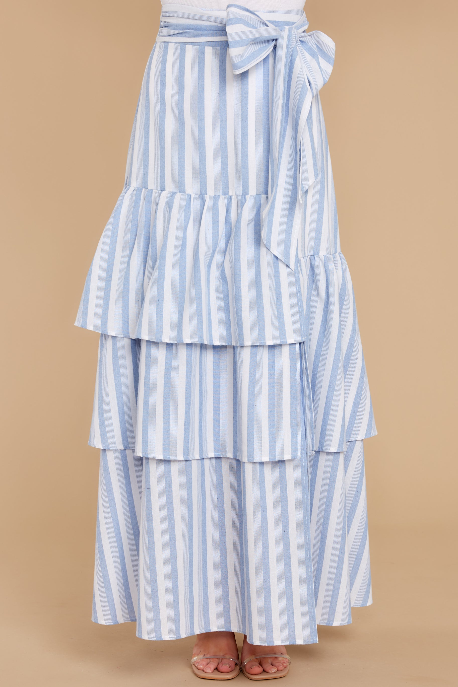 Days Away Light Blue Stripe Maxi Skirt