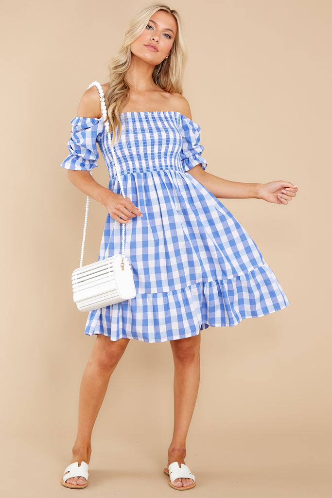 Picnic In Paradise Blue Gingham Dress 1 at reddress.com