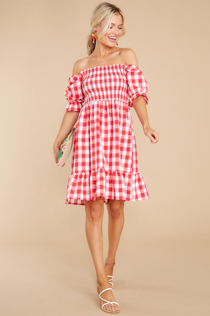 Picnic In Paradise Red Gingham Dress 1 at reddress.com