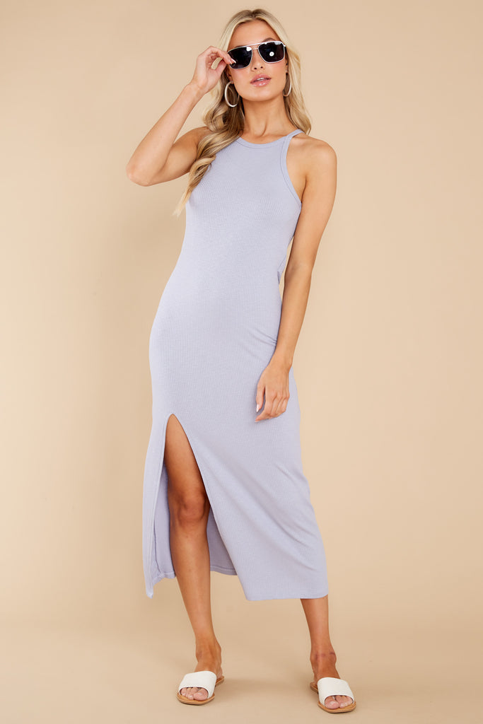 1 Palisades Lavender Grey Rib Midi Dress at reddress.com