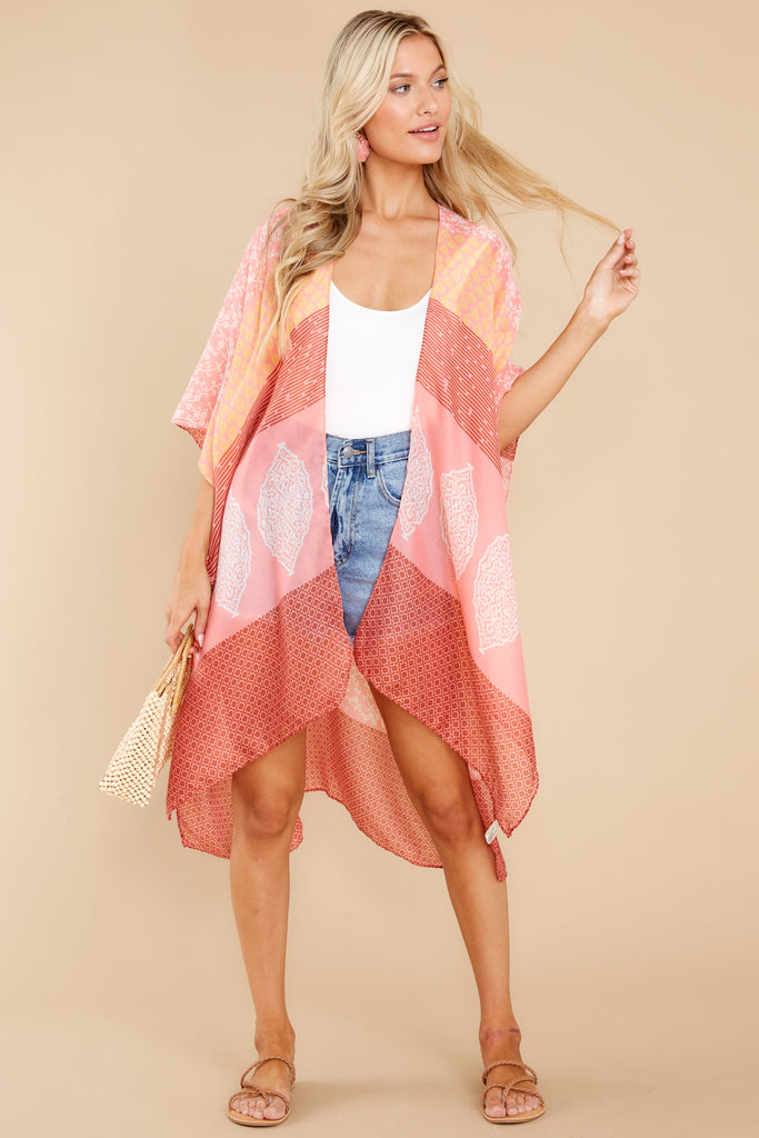 1 Fun In The Sun Coral Pink Multi Print Cover Up at reddress.com