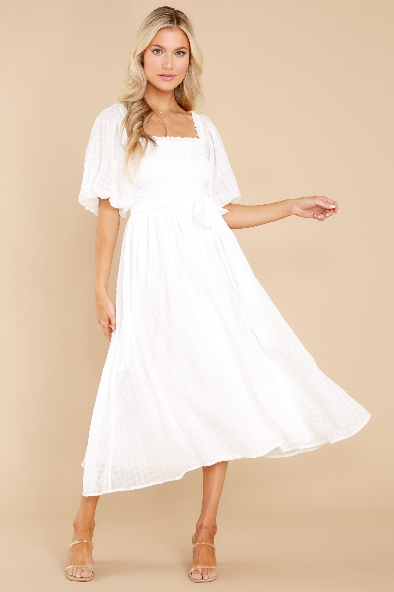 70s Clothes | Hippie Clothes & Outfits Never Ending Love Story White Midi Dress $48.00 AT vintagedancer.com
